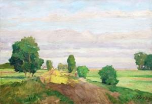 Carl Jörres (1870-1947), Weg ins Moor, um 1930, Ã_l auf Pappe, 34 x 49 cm