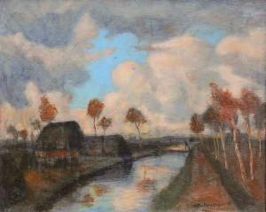Modersohn, Herbststurm im Moor, um 1940, Ã_l a.Lw. a. Pappe kaschiert, 64,5x78,5 cm