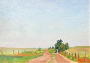 Udo Peters (1884-1964), Sommermorgen am Weg zur Hamme, um 1935, Ã_l auf Pappe, 49,9x69,5 cm.